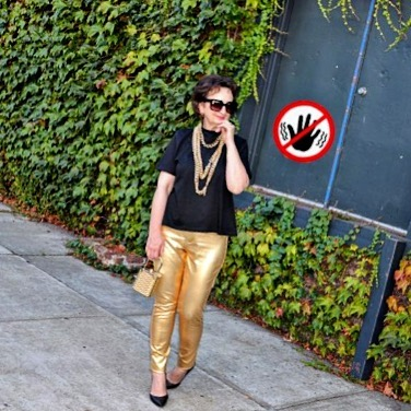 hello today mystyle nyc fahionstyle style goldentrousers trousers golden womanhellip