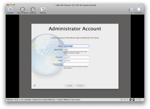 Administrator Account screen