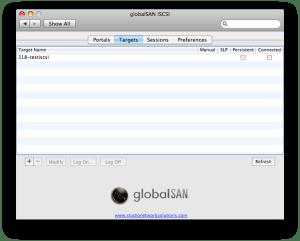 globalSAN Targets Tab