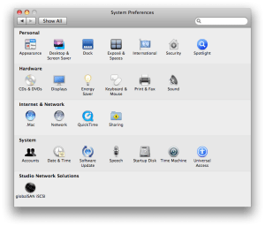 System Preferences with globalSAN Pane