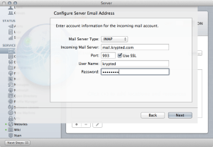 Mountain Lion Calendar Server :: Configuring IMAP
