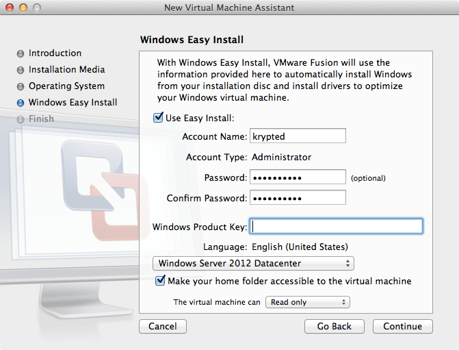 how to create a vm mac on vmware