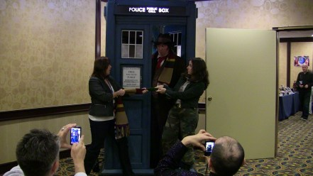 """Two companions fight over the Doctor in his fourth incarnation. """"Tom Baker"""" here is Andrew Elkins, an amazing recreationist lookalike."""