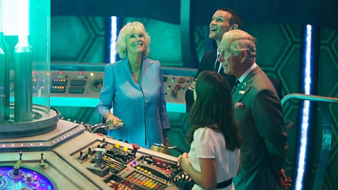 Their Royal Highnesses, The Prince of Wales and The Duchess of Cornwall today visited the home of Doctor Who – BBC Cymru Wales' Roath Lock studios in Cardiff - to help celebrate the show's 50th anniversary.
