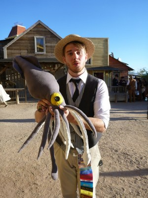 Handcrafted giant squid as a raffle prize for the Kids Need To Read charity