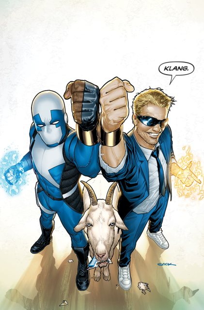 Valiant's insanely popular heroes, Quantum and Woody.  That's Quantum on the left.