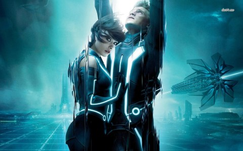 Olivia Wilde and Garrett Hedlund as Quorra and Sam Flynn in 2010's  'Tron: Legacy'