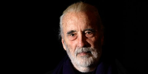 British actor Sir Christopher Lee is photographed before his interview with APTN, at the AP office in north London, Friday March 5, 2010 (AP Photo/Joel Ryan)