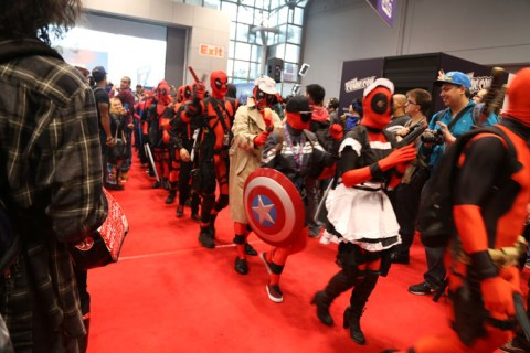 The Deadpool conga line at the 2014 New York Comic Con.