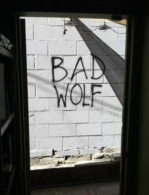 The Bad Wolf lives...just outside the game room at Geeky Teas!