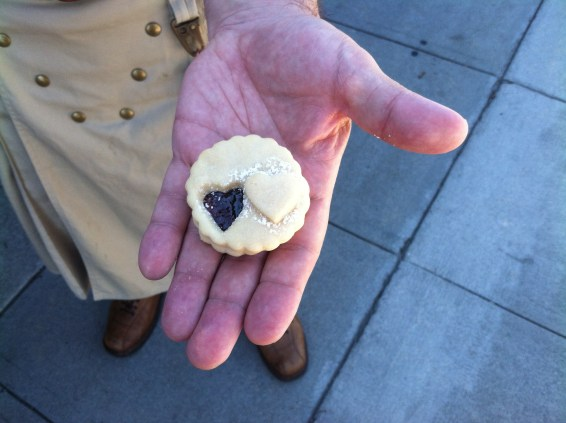 A Gallifreyan home made Jammy Dodger, with two hearts, straight from the folks at Kneady Bakery.