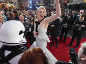 Gwendoline Christie enthusisatically greets her fans.