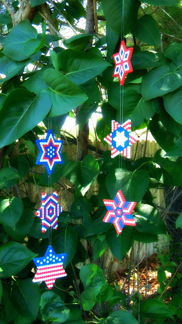 Perler Bead Wind Spinner Easy Fourth Of July Craft Krysanthe