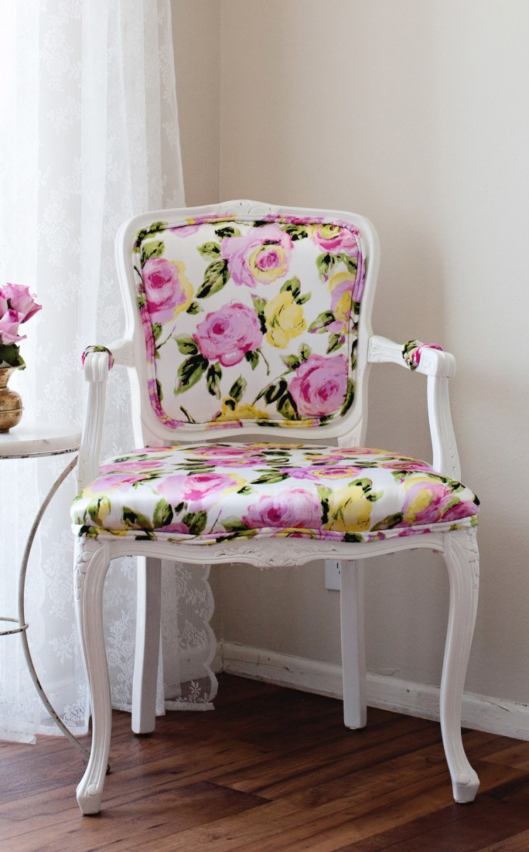DIY I reupholstered our Bergere chair with florals