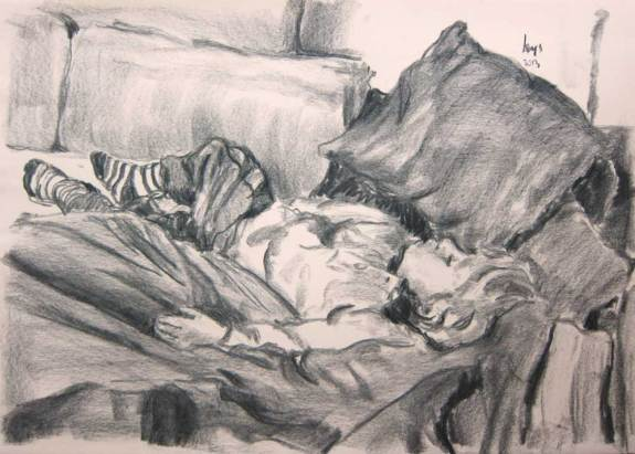Sleeping Child. 2013 Charcoal on paper 42 x 59 cm