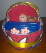Bassinet nappy cake only $90, includes 3 baby blankets and loads of nappies!