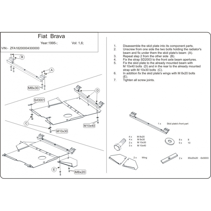 Fiat Brava / Bravo (cover under the engine and gearbox) 1