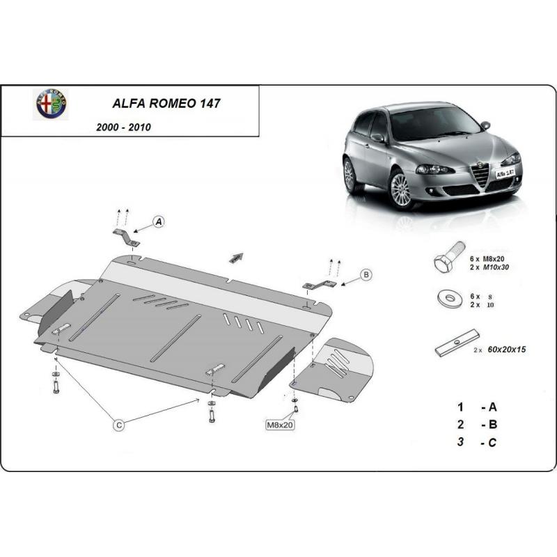 Alfa Romeo 147 kryt pod motor 1.6, 2.0, 3.2, 1.9JTD