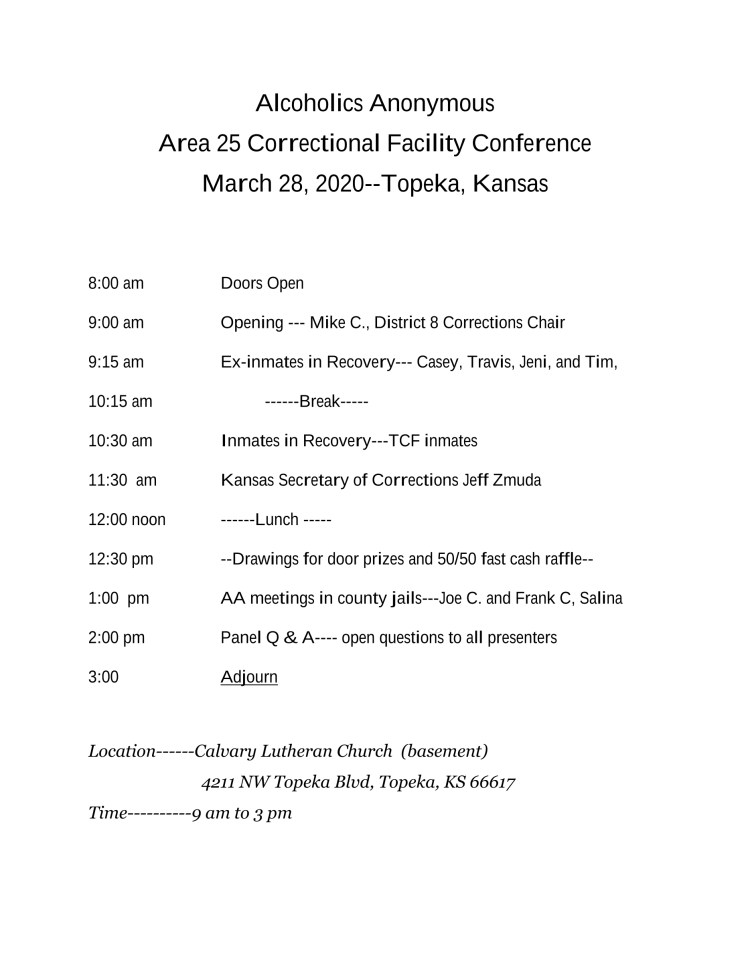 Area 25 Correctional Facility Conference March 2020
