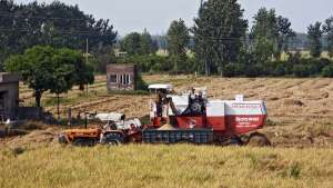 Weizenernte mit Traktor und Mähdrescher