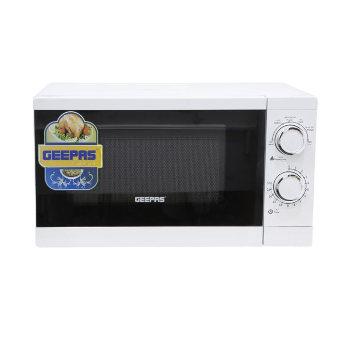 geepas 20l microwave oven 1200w solo microwave with 6 power levels and a timer cooking power control with 2 rotary dials defrost settings