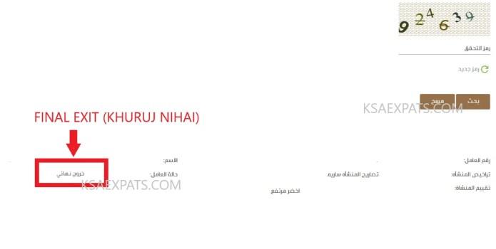 EXIT VISA, KHUROOJ NIHAI, CHECK FINAL EXIT, SAUDI ARABIA FINAL EXIT VISA STATUS, MOL, MOI