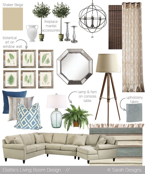 Mood Boards  A Welcoming  Relaxing Living Room Kitchen and Dining Room  K Sarah Designs