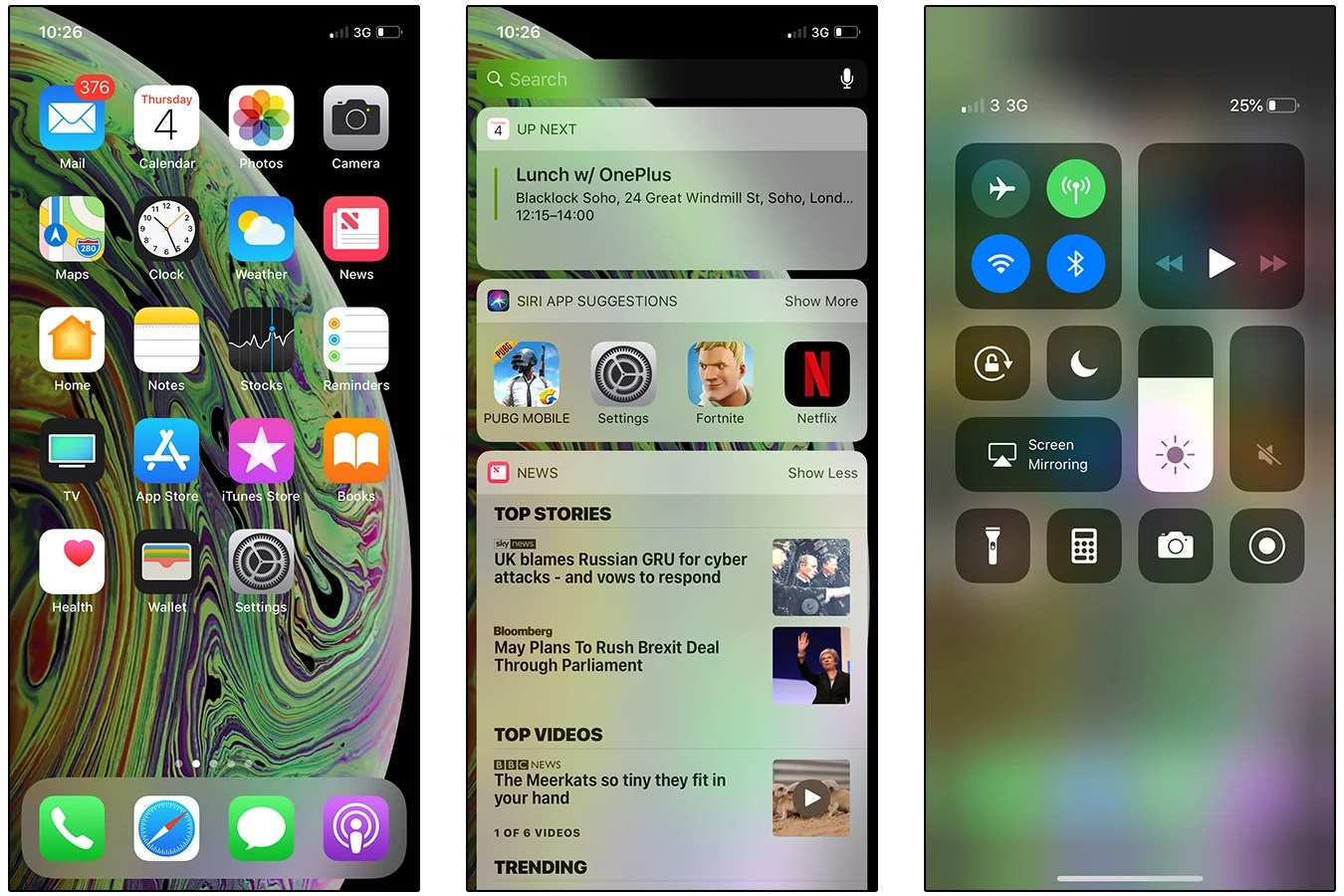 hight resolution of iphone xs screenshots home screen today view control centre