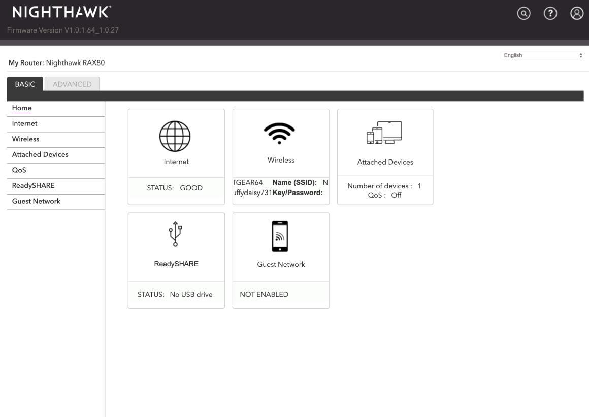 Netgear Nighthawk AX8 веб-интерфейс