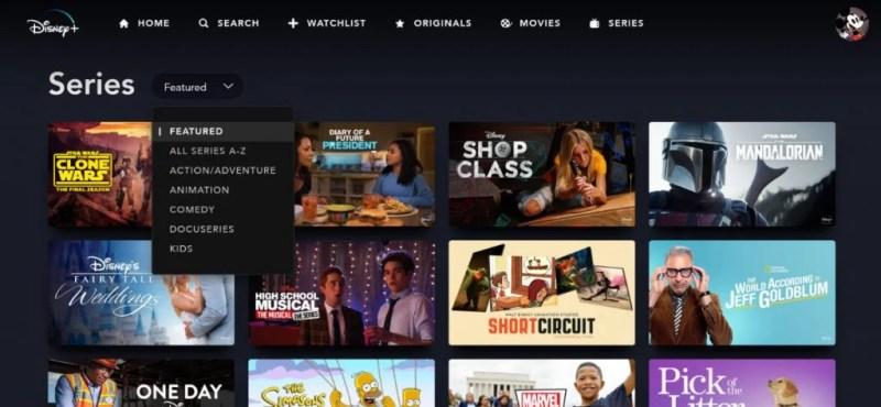 disney plus tv shows section