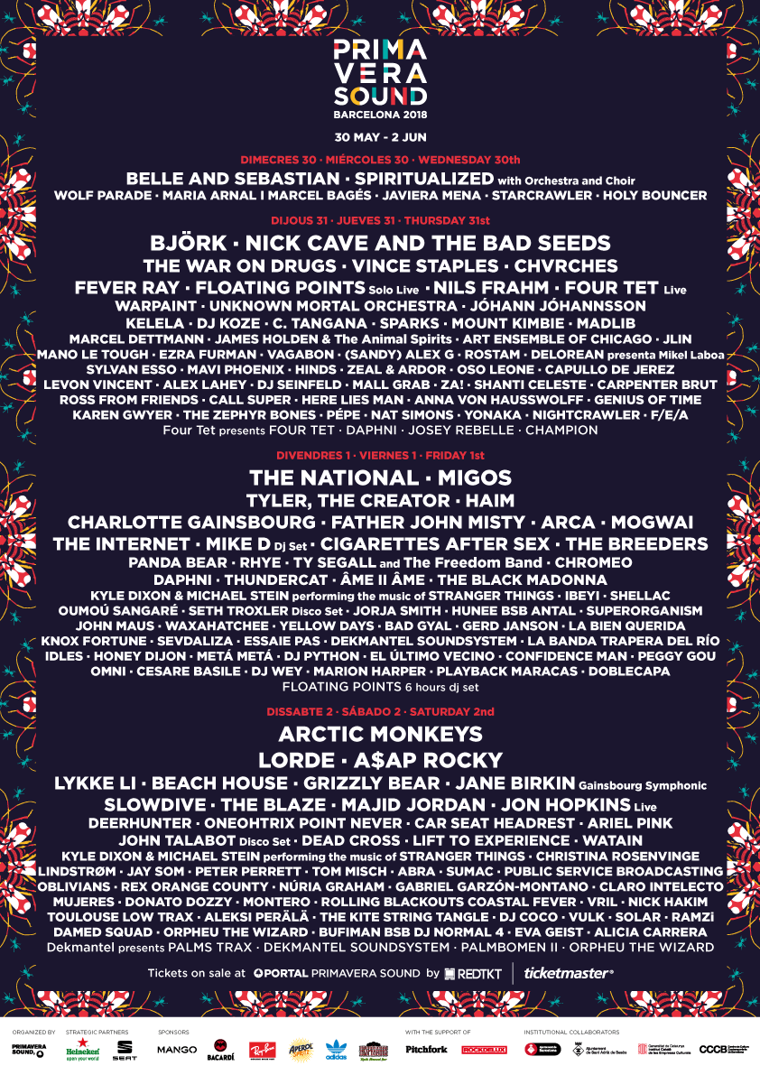 The Primavera Sound line up for 2018 is absolutely huge