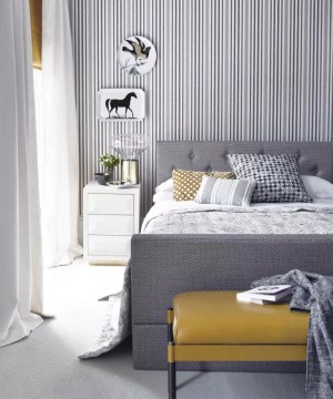 bedroom striped wall grey bed accent walls dark designs pinstripes gorgeous yellow floor bryant claudia credit sleep space decoration