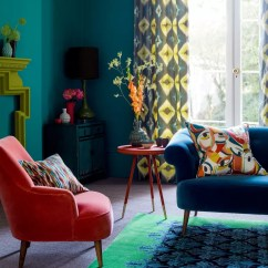 Color Schemes For Living Room With Green Sofa Small Designs Ideas Colour Bold Modern Blue And Red Armchair