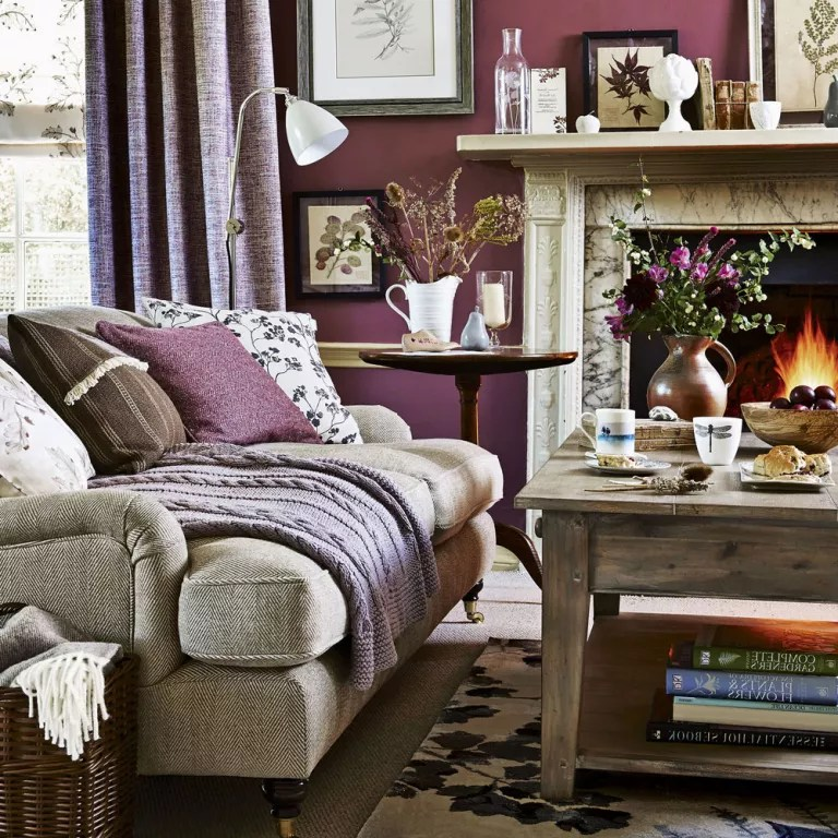 living room bed small furniture setup ideas colour schemes warm up your in the colder months with plum tones combine shades of claret and dusky rose to make space toasty snug
