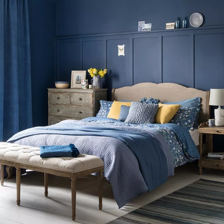 Blue bedroom ideas  see how shades from teal to navy can