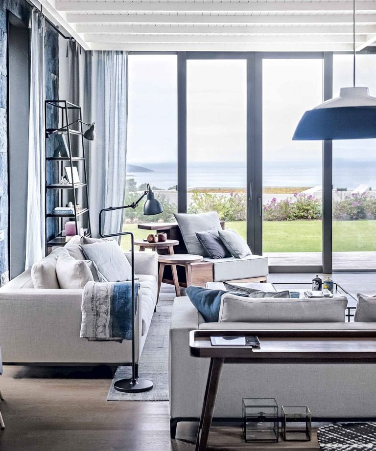 navy blue sofa bed uk euro style lafau with armrest dark gray open-plan living room ideas to inspire you | ideal home