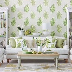 Green Cushions Living Room Hanging Light Fixtures How To Decorate With Ideal Home Printed Wallpaper Behind A White Sofa