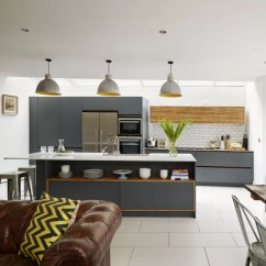 Small Living Room With Kitchen Ideas Brown Chairs For Open Plan Design Family Life Grey Units And Leather