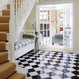 living room flooring ideas uk nice colors for walls black and white decorating ideal home classic hallway with gloss upholsted wooden bench sofa in