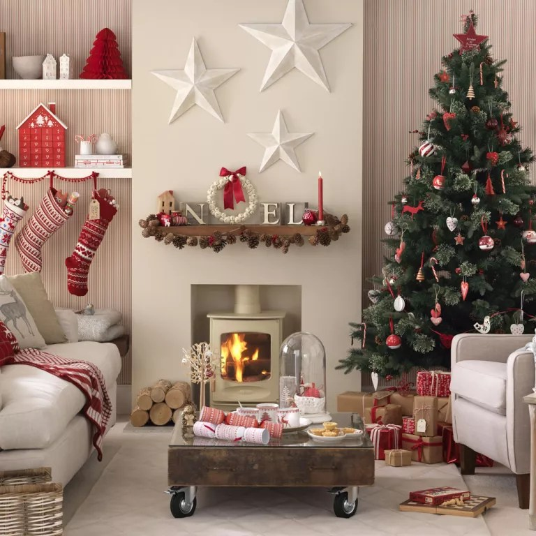 decorate small living room for christmas sofa set designs 2018 budget decorating craft ideas cheap scandi red and white