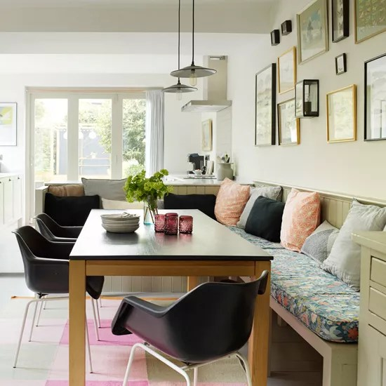 kitchen benches breakfast nooks for small kitchens diners that are rocking a bench seat ideal home disguise against wall by cladding both in wooden panelling painted the same shade factory style pendant and station artwork give