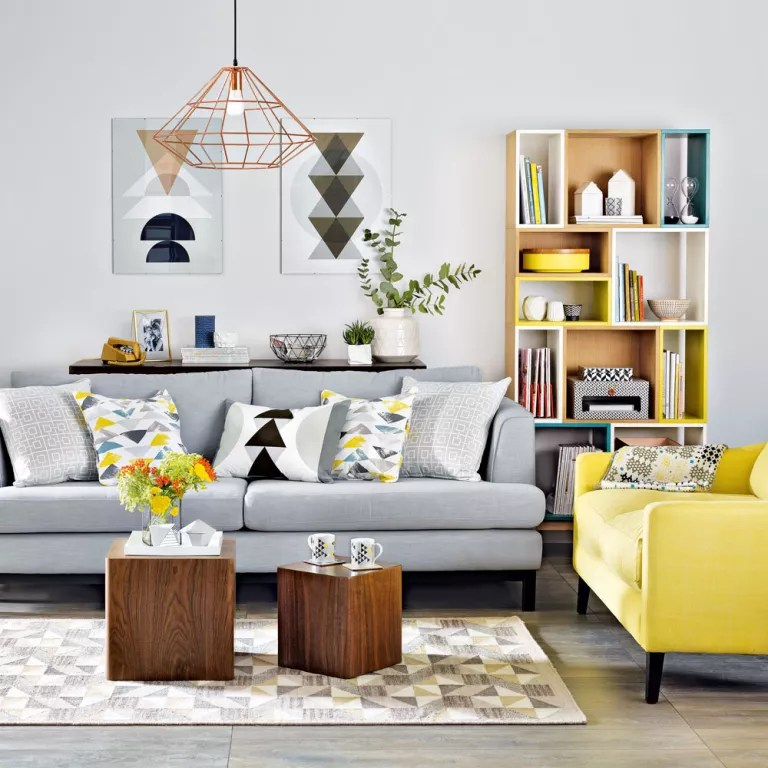 grey and yellow living room decorating ideas pink chair furniture mustard