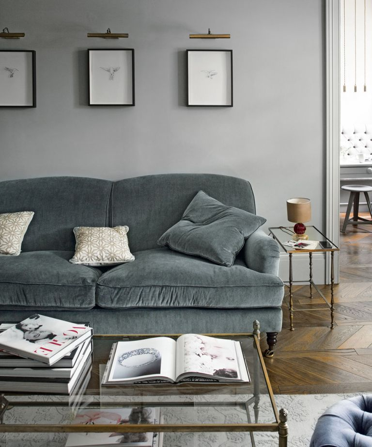 gray furniture in living room blue leather set grey ideas and mustard