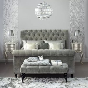 grey bedroom bed velvet colour decor glitter silver sleigh bedrooms living colours crushed upholstered gray schemes walls headboard beds decorating
