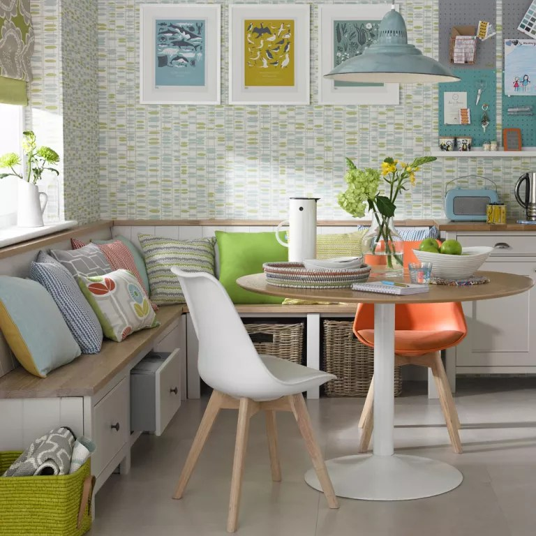 wallpaper for kitchen glass top table sets ideas kitchens while the feature wall has fallen out of favour elsewhere in home it s still a popular option multi function space such as an open plan