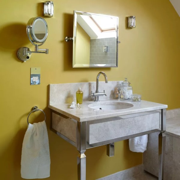 yellow and grey bathroom mirror Bathroom colour schemes – Bathroom colour ideas for your space
