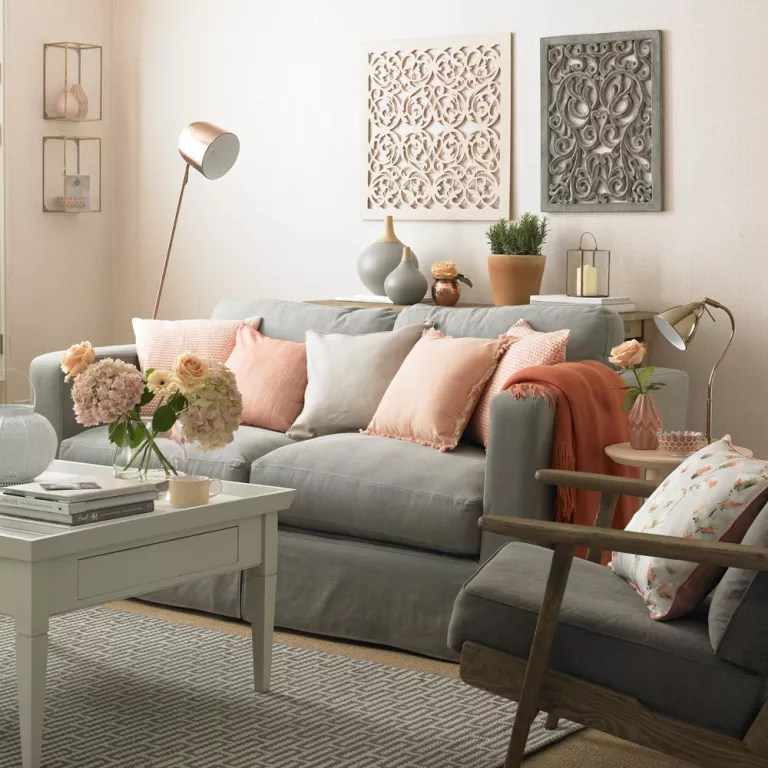 living room colour schemes with grey sofa skylight in peach and