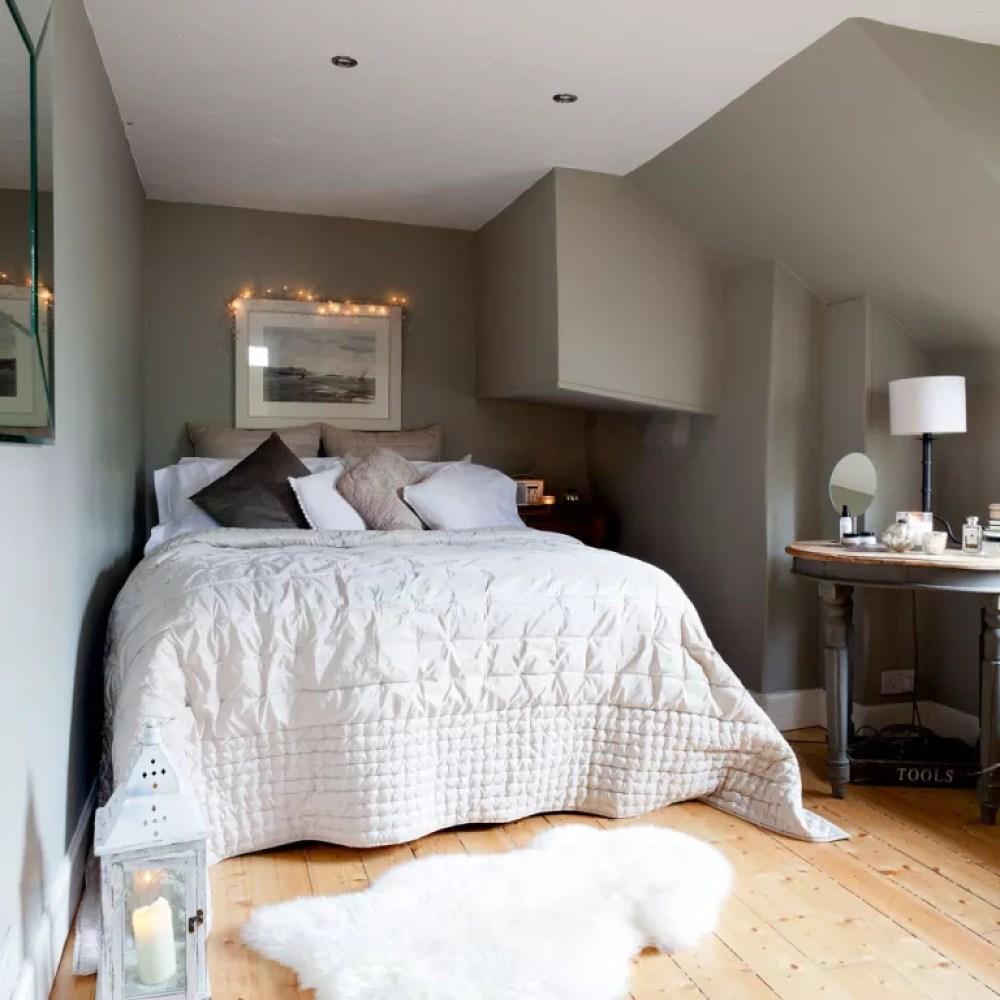 grey attic bedroom