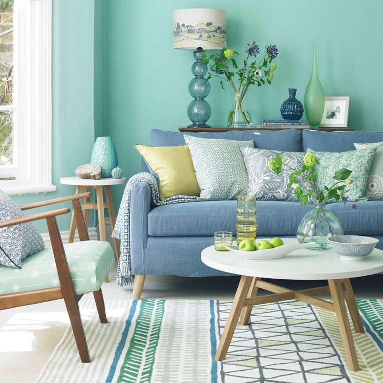 small living room ideas green modern bench seating for soothing sophisticated spaces spearmint and blue