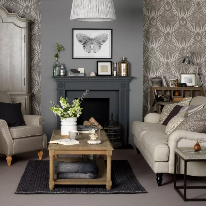 living room wallpaper either side of chimney breast